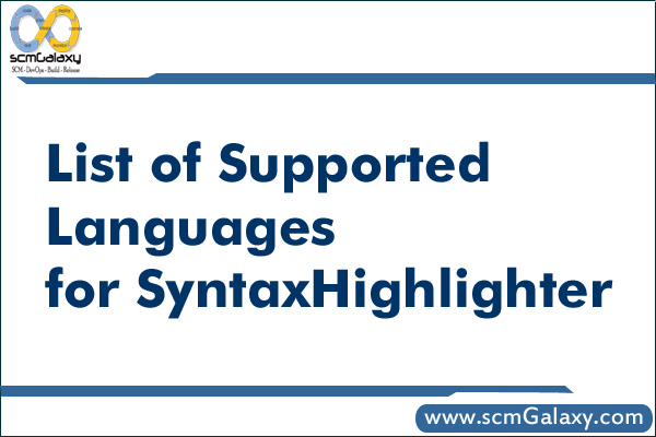 List of Supported Languages for SyntaxHighlighter